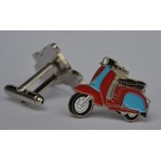 Claret and Blue Lambretta Scooter Enamel Cufflinks