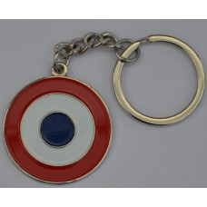 French Airforce Roundel Cocarde Tricolore Enamel Keyring