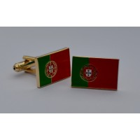 Portugal Flag Gold Plated Enamel Cufflinks