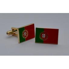 Portugal Flag Gold Plated Enamel Cufflinks