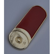 Twelve Gauge Shotgun Cartridge Gold Plate and Enamel Pin Badge
