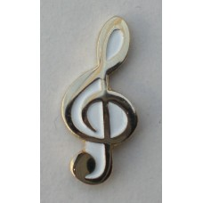 Gold Plated Treble Clef Pin Badge