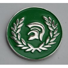 Green Trojan Pin Badge