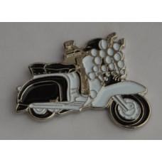 Black and White Lambretta with Lights Enamel Pin Badge