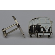 Black Split-Screen Campervan Enamel Cufflinks