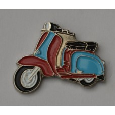 Claret and Blue Lambretta Scooter Pin Badge