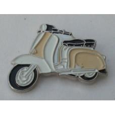 Cream and White Lambretta Pin Badge