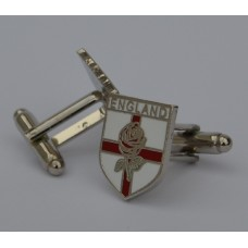 England Rose On George Cross Shield Quality Enamel Cufflinks