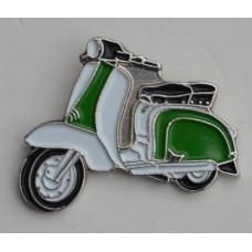Green and White Lambretta Pin Badge