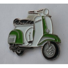 Green and White Vespa Pin Badge