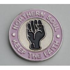 Pink Northern Soul Keep The Faith Pin Badge
