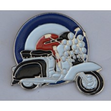 Lambretta Scooter with Lights and Mod Target Enamel Pin Badge