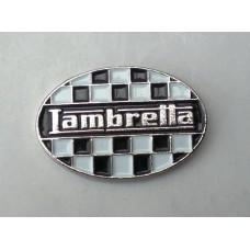 Lambretta Checkerboard Oval Pin Badge
