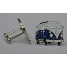Navy Blue Split-Screen Campervan Enamel Cufflinks