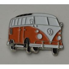 Orange and White Campervan Pin Badge