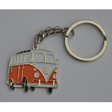 Orange and White Split-Screen Campervan Keyring