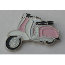 Pink and White Lambretta Pin Badge