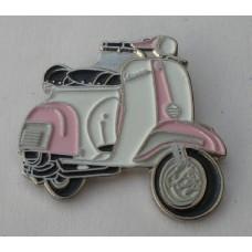 Pink and White Vespa Pin Badge