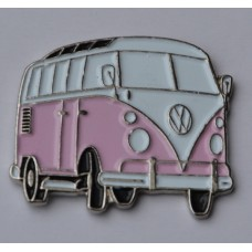 Pink Split-Screen Campervan Enamel Pin Badge