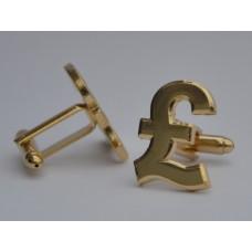 Gold Plated British Pound Sign Cufflinks