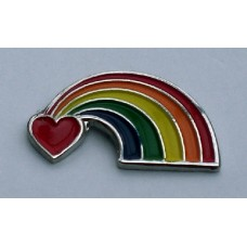 Gay Pride Rainbow Heart Pin Badge