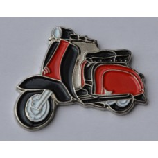 Black and Red Lambretta Scooter Enamel Pin Badge