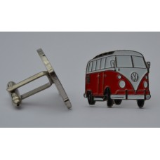 Red and White VW Split-Screen Campervan Cufflinks