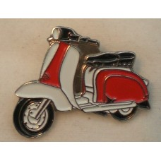 Red and White Lambretta Pin Badge