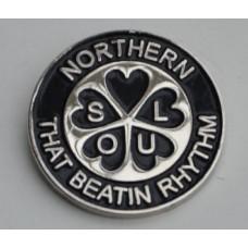 Black Northern Soul That Beatin Rhythm Pin Badge