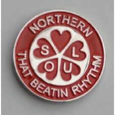 Red Northern Soul That Beatin Rhythm Pin Badge