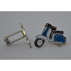 Royal Blue and White Lambretta Scooter Enamel Cufflinks