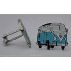 Sky Blue and White VW Split-Screen Campervan Cufflinks