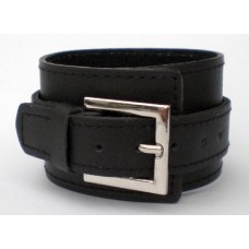 Leather Cuff With Single Buckled Strap