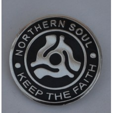 Black Northern Soul Keep The Faith Vinyl Record Centre Pin Badge