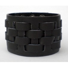 Leather Cuff With Woven Detail