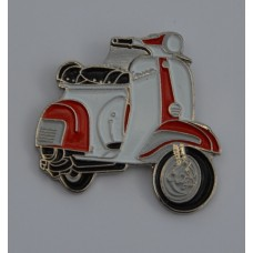 Red and White Vespa Pin Badge